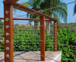 Stainless Steel Cable Railing With Hardwood Decking